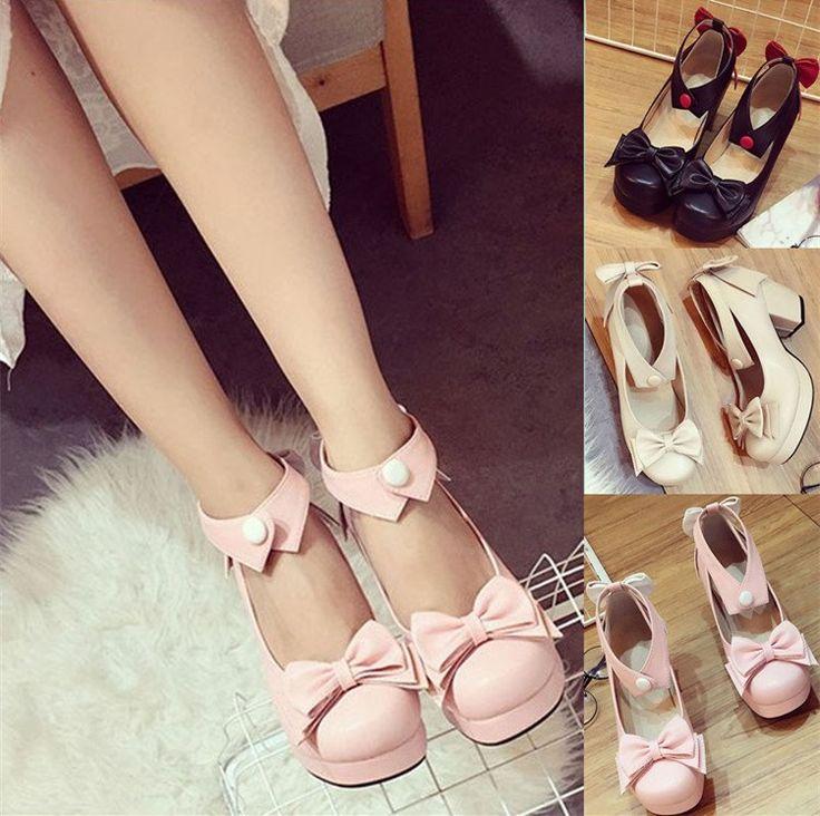 "Sweet lolita bowknot heels SE9620   Coupon code ""cutekawaii"" for 10% off"