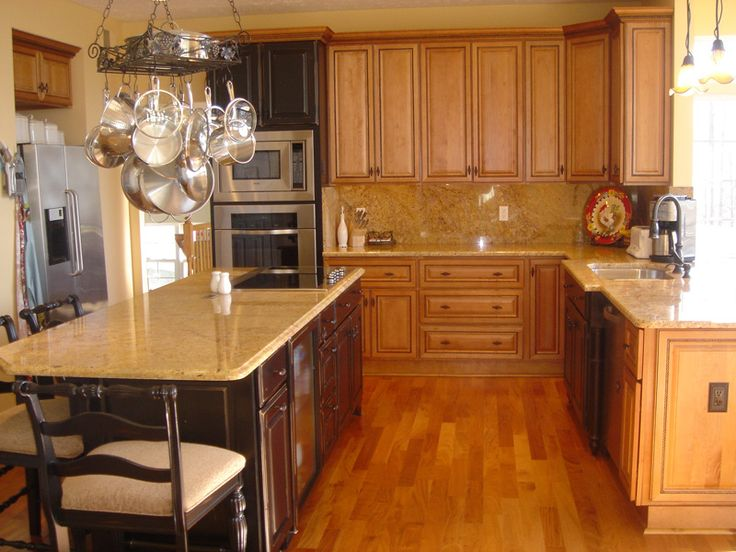 Kitchen, White Spring Granite With Maple Cabinets For