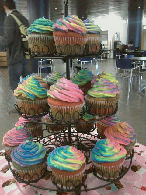 Tie-dye cupcake tower