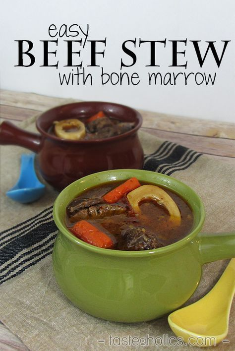 The easiest beef stew! Simmered for hours with bone marrow, veggies and spices! Use organic, grass-fed beef shank for the most gelatin in your stew. Read about all the benefits of bone marrow and gelatin in this recipe! www.tasteaholics.com