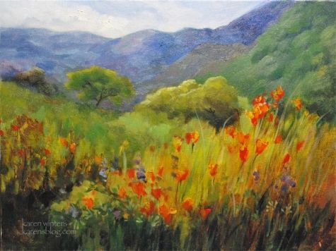 California+impressionist+landscape+oil+painting+-+Spring+poppies+-+Hillside+Bouquet,+painting+by+artist+Karen+Winters