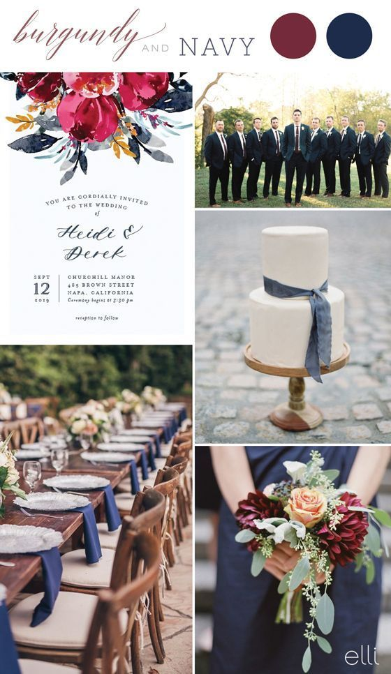 Burgundy and Navy Fall Wedding Colors Invitation