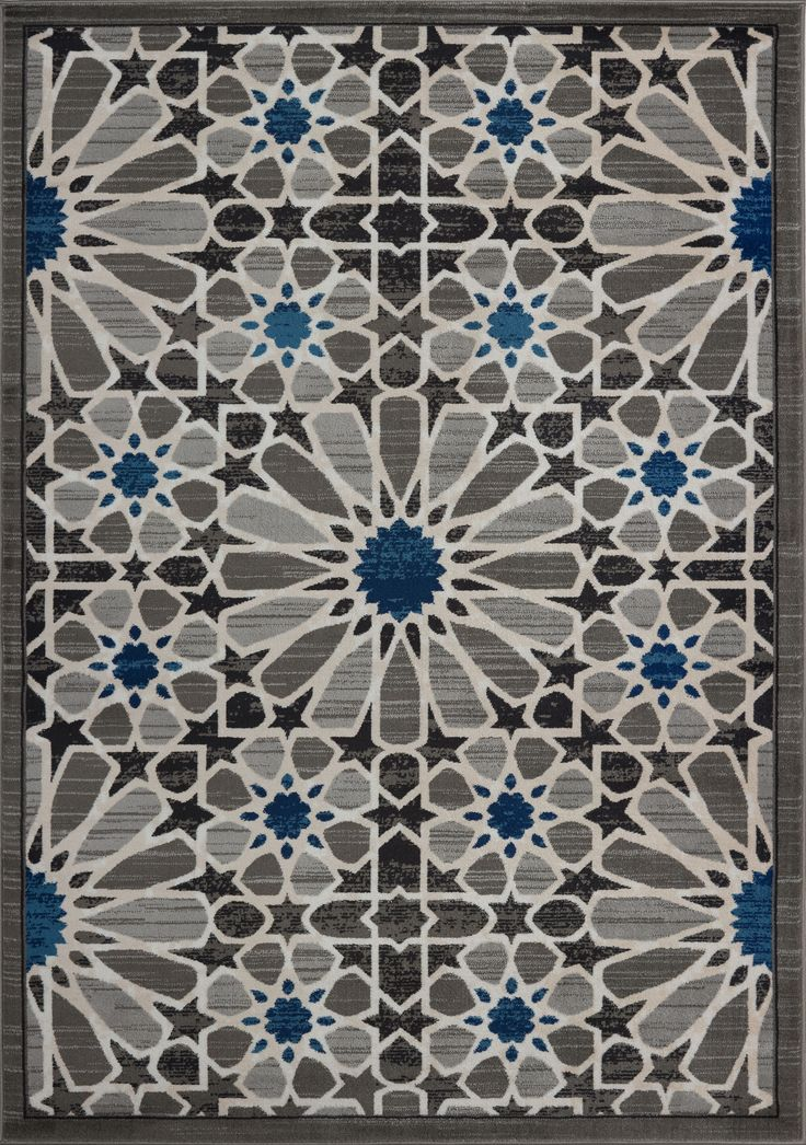 City Square Grey Blue Area Rug -Moroccan Style Area Rug #home #rugs #arearug #shoppingonline #decoration #styleinspiration