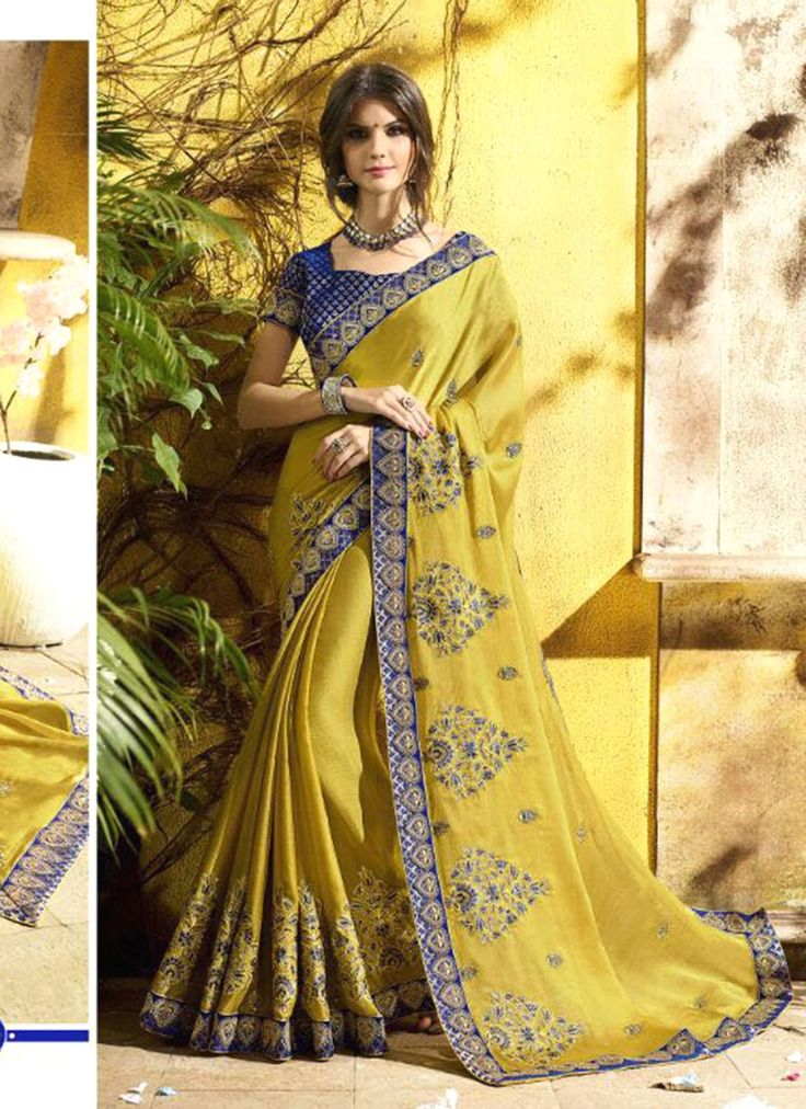 Experience the online shopping for indian traditional saree. Order this honourable embroidered, patch border and resham work yellow classic designer saree.