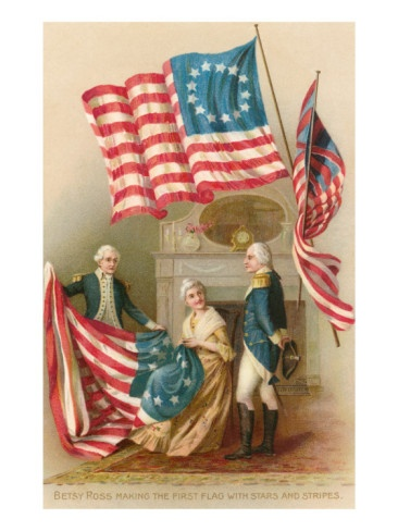 Betsy Ross making the 1st American flag - stars and stripes