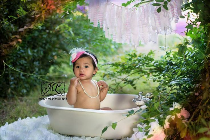 On location baby girl photography session in a mini bathtub! https://www.facebook.com/pages/Mandy-Lee-Photography/113937515377935