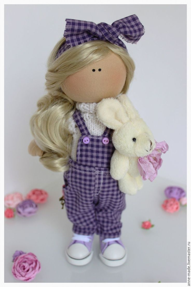 Купить Текстильная кукла Laura - фиолетовый, текстильные куклы, текстильная кукла, интерьерная кукла