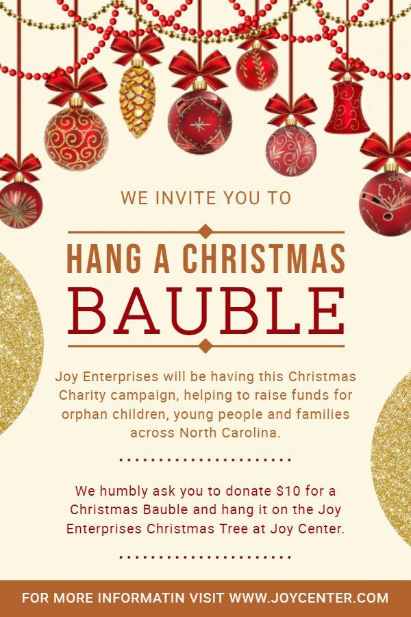 Christmas Fundraiser Flyer.Christmas Charity Event Invitation Poster Idea Christmas