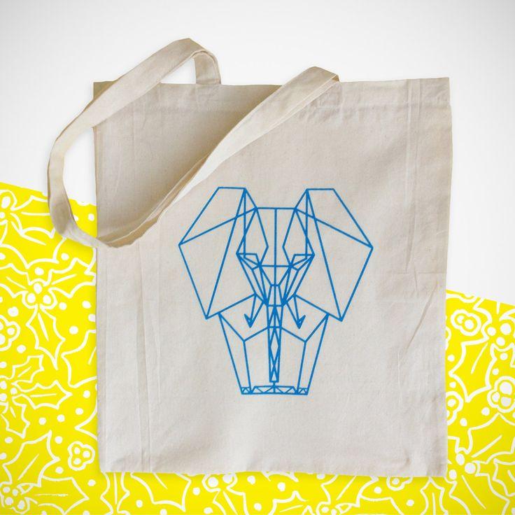 Blue origami elephant. Screenprinted tote bag. Canvas shopping bag. Individually handprinted. by YellowHolly on Etsy