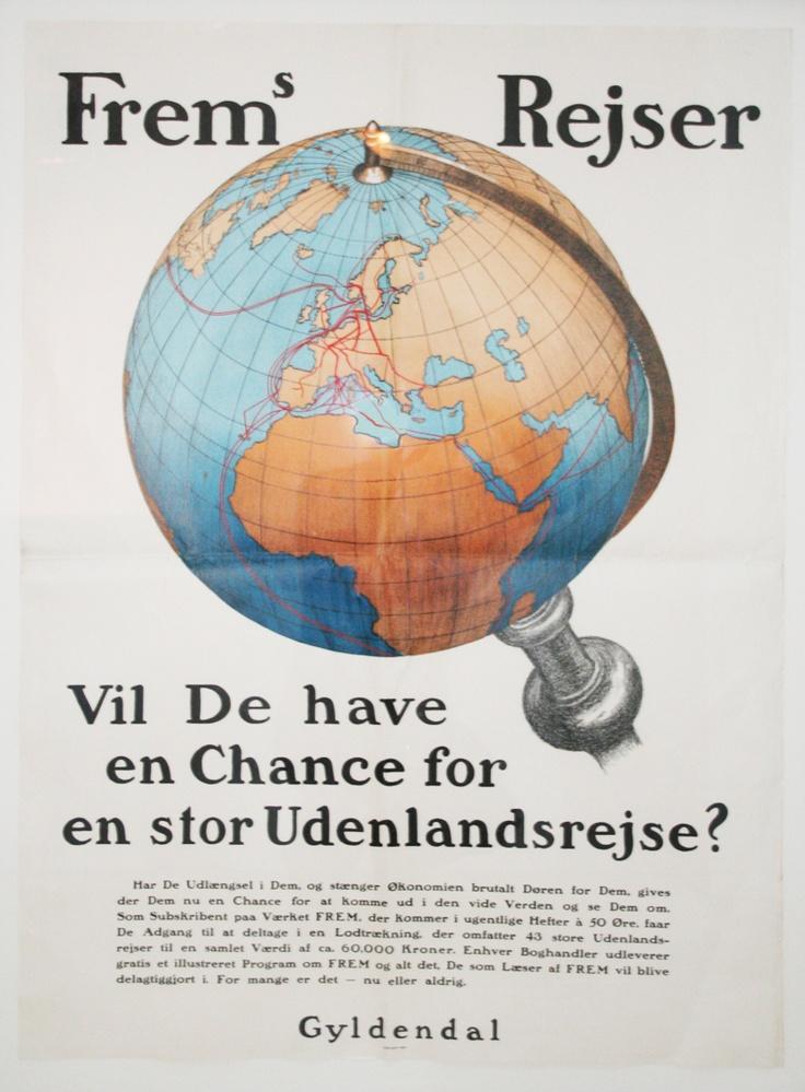 Ud i verden.    Original retro-plakat fra Forlaget Gyldendals gemmer.