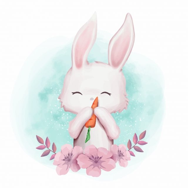 Rabbit Carrot Cute Nursery, Watercolor, Love, Kids PNG and