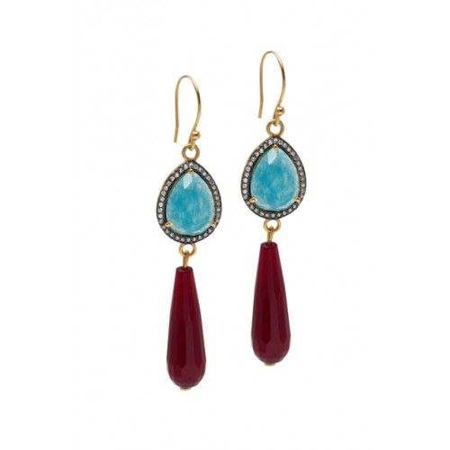 """Princess' Tears"" droping silver earrings 925 black plated with cubic zirgonia, blue & red agate"