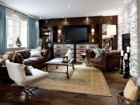 brown and teal living room