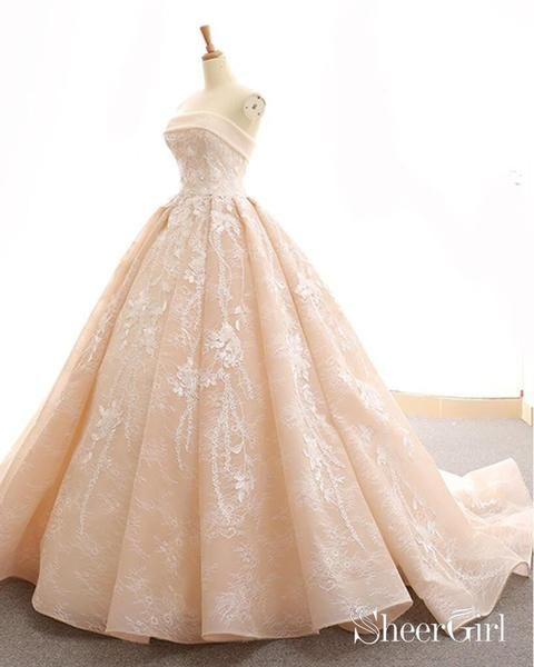 1e2c97b01ff Champagne Lace Ball Gown Prom Dresses Princess Sweet 16 Dress ARD1938- SheerGirl