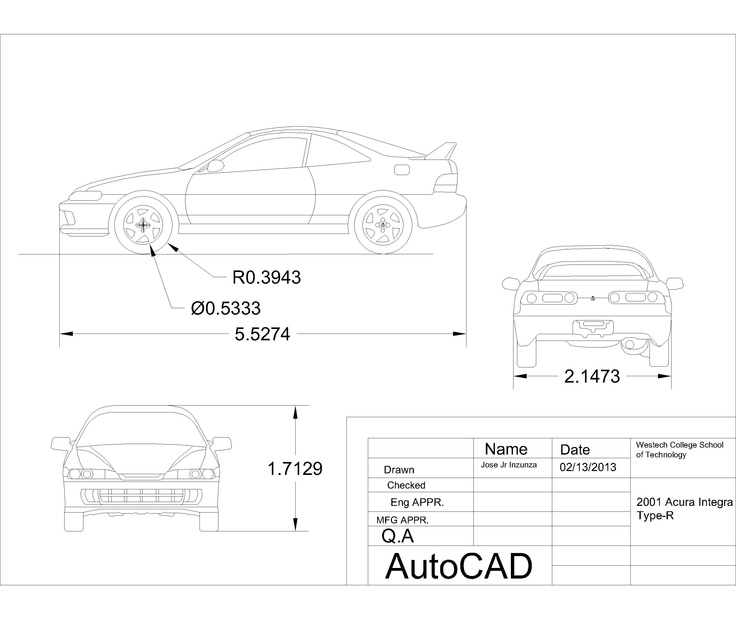 Integra Type R, Acura Integra, Autocad