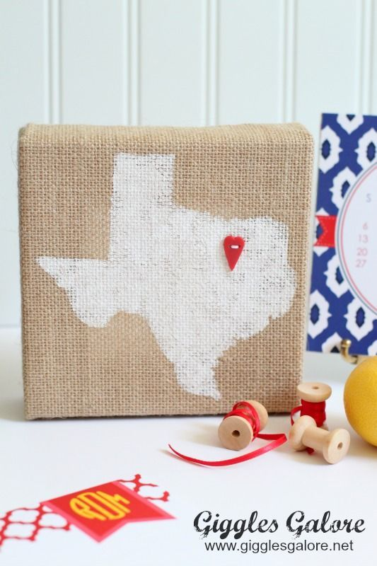 burlap home state canvas