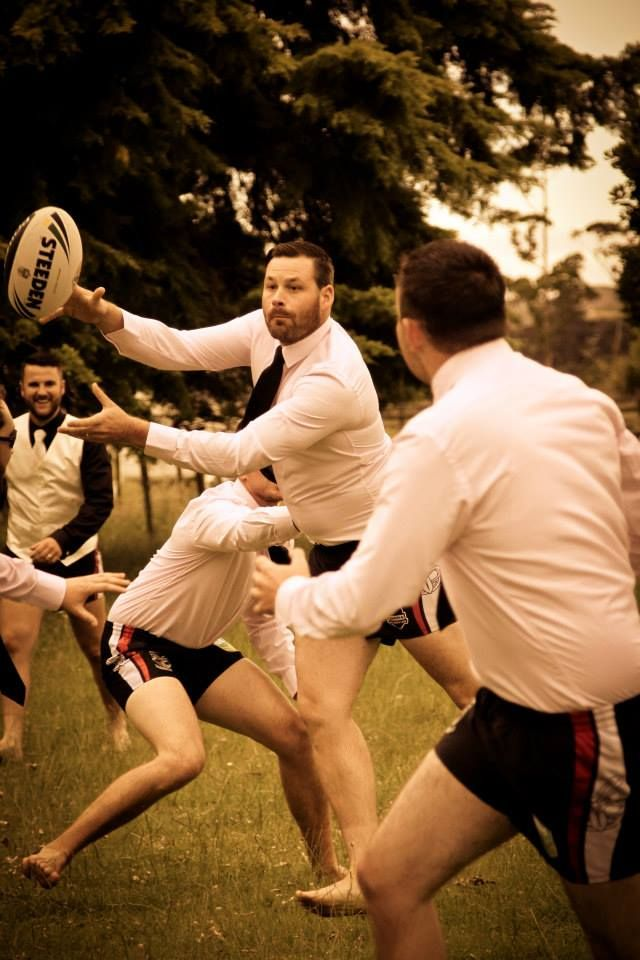 Matt Judkins included a game of touch on his wedding day with the groomsmen, representing the Vodafone Warriors in their Warriors shorts