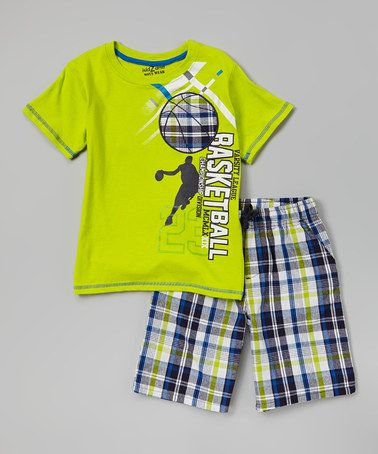 Look at this #zulilyfind! Green 'Basketball' Tee & Plaid Shorts - Infant, Toddler & Boys #zulilyfinds