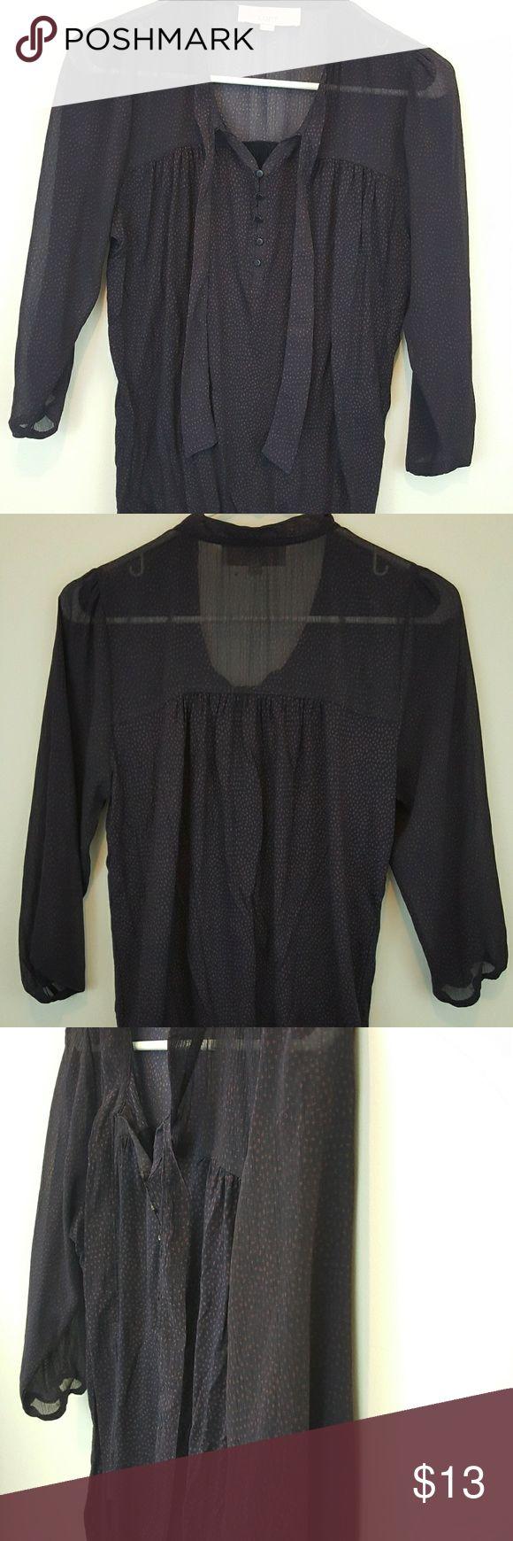 Ann Tylor Loft Women's Polka Dot Blouse Button Down ,Polka Dot, Long Sleeves Blouse with Stretchable waist Band LOFT Tops Blouses