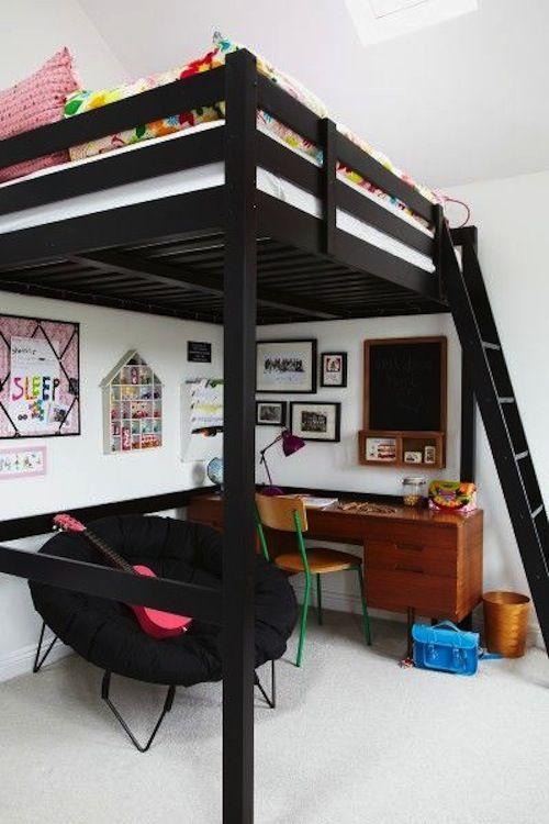 Çift-Katlı-Siyah-Genç-Odası-Dekorasyonu