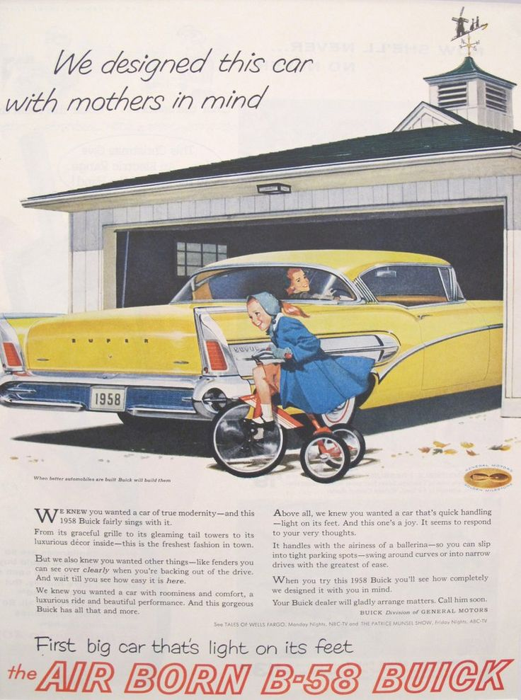 1958 Matted American Car Advertisement, B-58 Buick. A fabulous lithographic car advertisement printed in the 1950s and extolling the advantages of owning a B-58 Buick and trying to appeal to a female audience.