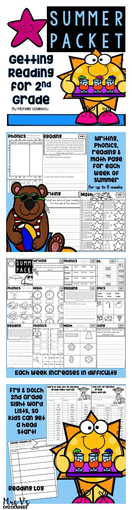 First grade summer packet for students entering second grade. Phonics, reading, writing and math for all 8 weeks of summer. Perfect to prevent summer learning loss, summer school lessons or tutors.