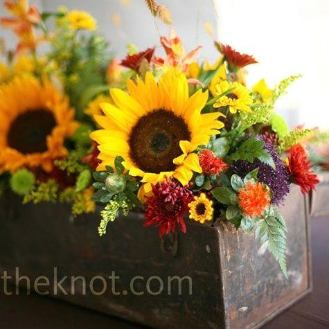 sunflowers for wedding arrangements | Rustic Sunflower Centerpiece