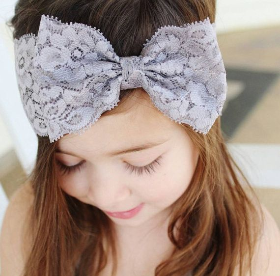 Girls lace headband with bow