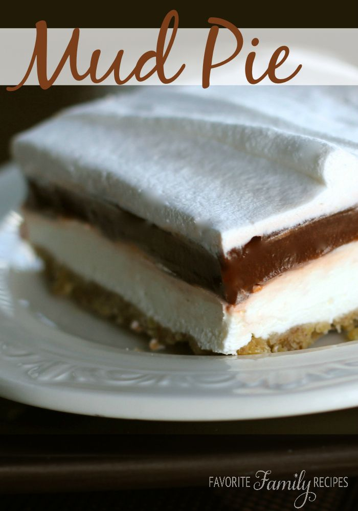 This mud pie recipe is simple and can be altered to any way you like it. Try different flavors of pudding in the middle - like pistachio and butterscotch!