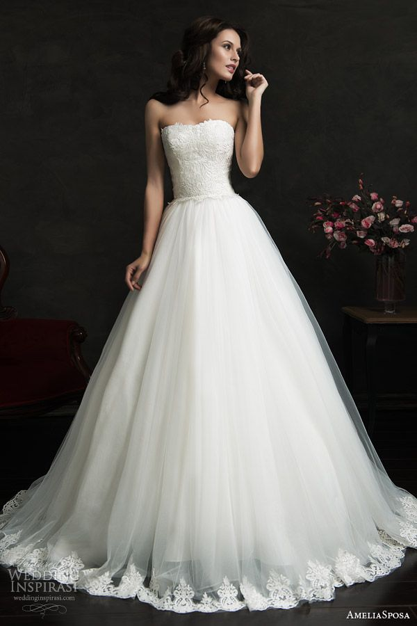 filipina strapless ball gown wedding dress lace bodice hem skirt