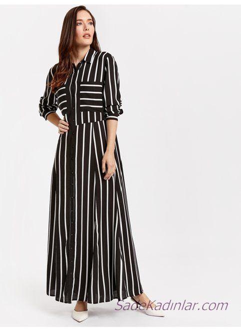 2019 Uzun Kollu Elbise Modelleri Siyah Yakali Cepli Cizgili Desenli Elbise Modelleri Elbise Elbiseler