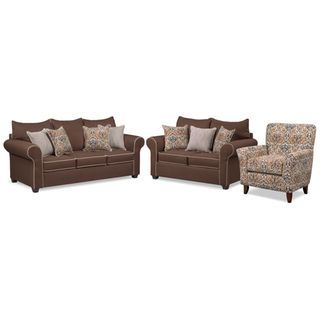 Carla Queen Memory Foam Sleeper Sofa, Loveseat and Accent Chair Set - Chocolate
