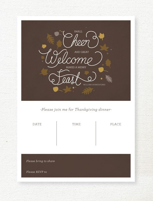 lemon squeezy: Free Download for Thanksgiving invitations: yellow and brown. Fit standard 5x7 envelopes
