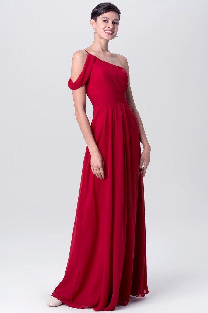 de25026c7f1 A-line Chiffon Red One Shoulder Bridesmaid Dresses Long in 2019 | beautiful  dresses | Bridesmaid dresses, Dresses, One shoulder bridesmaid dresses