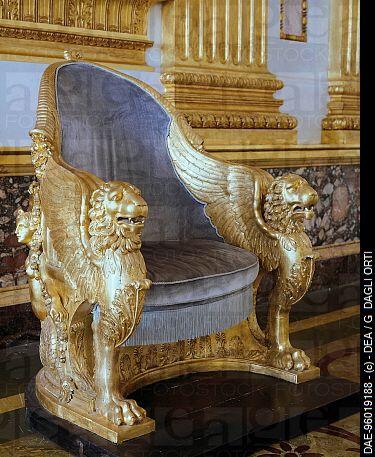 Gilded wood throne, Throne Room, Royal Palace of Caserta ,UNESCO World Heritage List, 1997, Campania. Italy, 18th_19th century. ( Gilded wood throne, Throne Room )