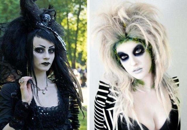gruselige halloween-kostüme und schminke-hexen mit zerzausten haaren