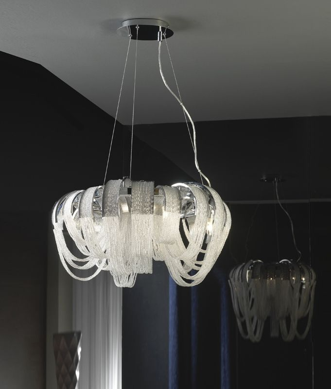 Clear Crystal Beaded & Chome Chandelier