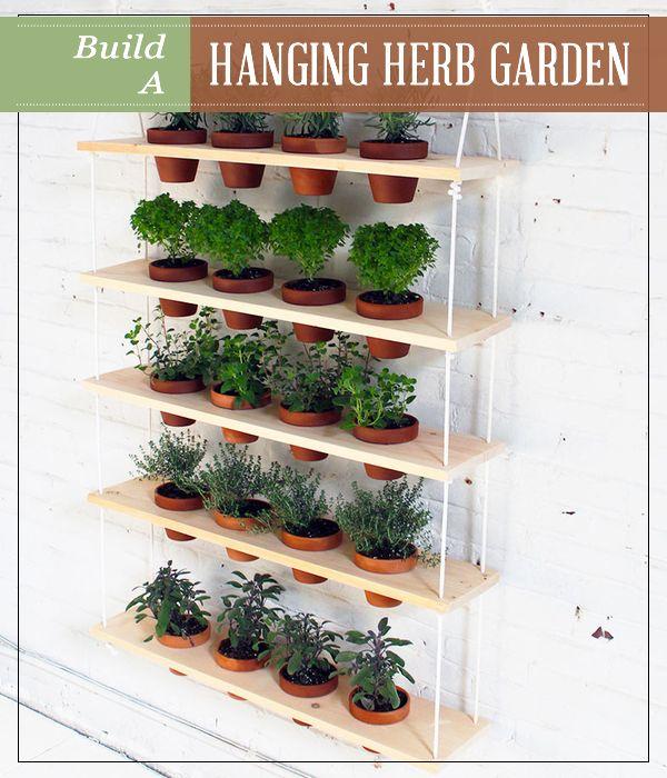 DIY Hanging Herb Garden   A space-saving, indoor-friendly, hanging herb garden. #pioneersettler