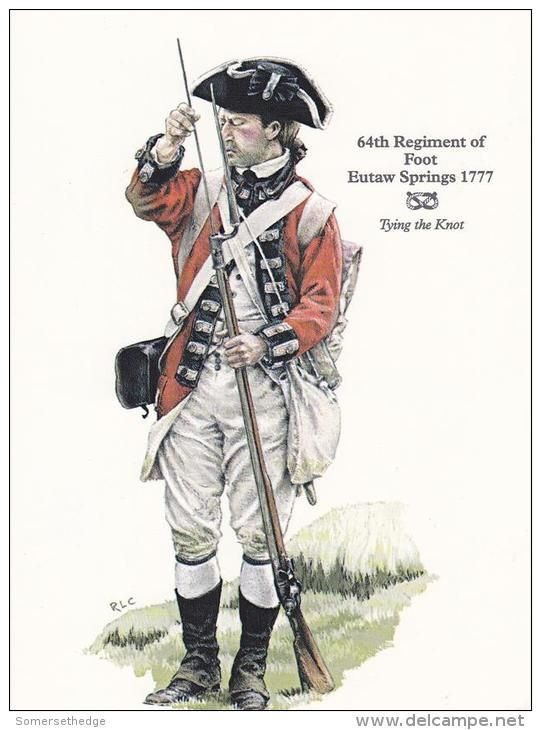 64th Regiment Of Foot at Eutaw Springs 1777.This is not representative of the uniform of most British regiments at that time. By 1777 most regiments had stopped wearing breeches and gaiters and favoured overalls, also most regiments had cut the tails of their jackets down by this time. It was only newly arrived regiments who wore standard regulation uniform.