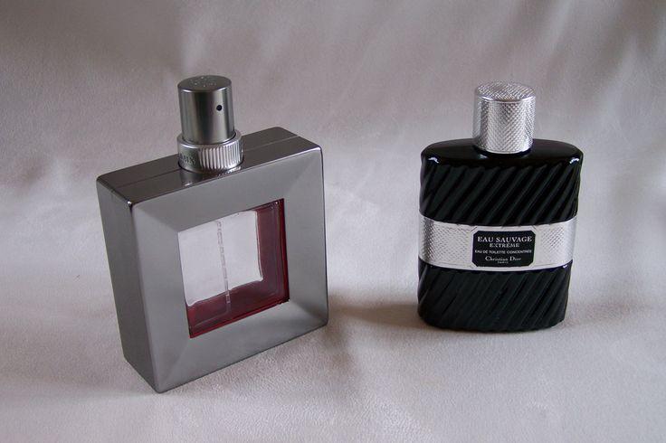 2 Flacons vides Habit rouge de Guerlain Eau de toilette et Eau sauvage extrème Eau de toilette Christian Dior de la boutique MyFrenchIdeedAntique sur Etsy