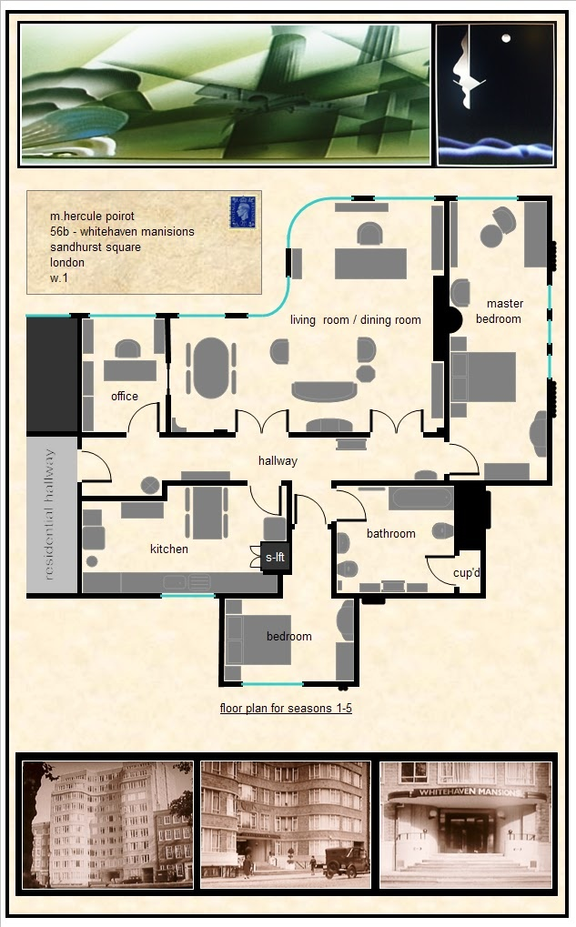 "Poirot's apartment diagram, ""Whitehaven Mansions"" (Seasons 1-5). I am obsessed with this set."