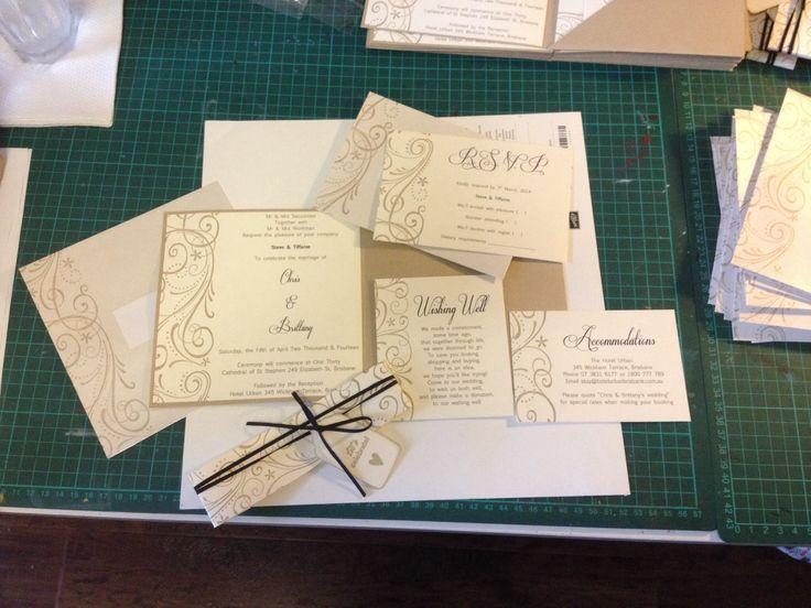 Pocket Wedding invite. Stampin up So swirly & crumb cake