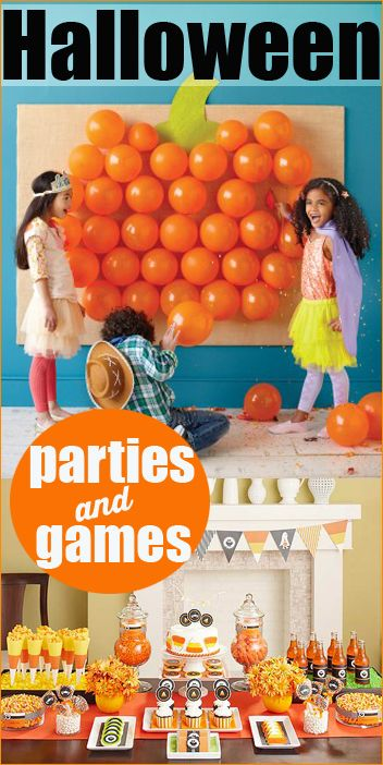 Halloween Party Ideas, table decorations, table displays and fun party games.