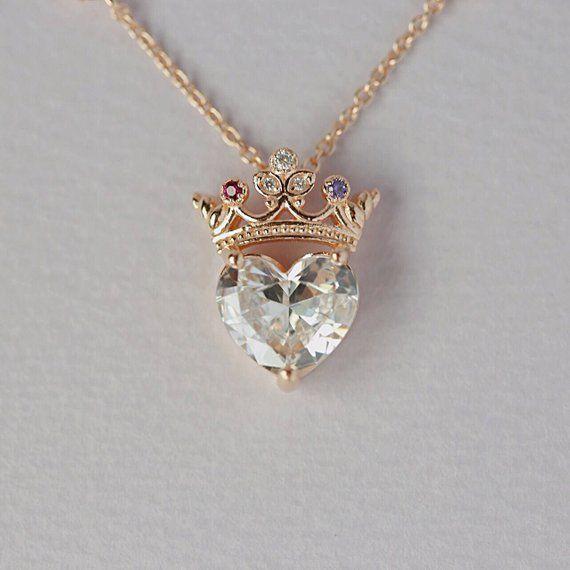 Crown heart necklace queen necklace pendant necklace | Etsy