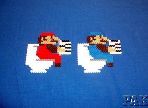 Mario Toilet Design.Super Brothers.Reading.Hama Bead.Magnet,Coaster,Mobile