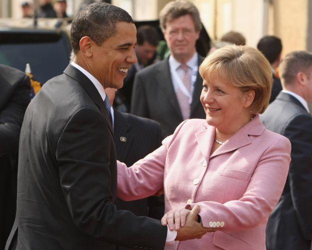 Obama and Merkel, Baden Baden 2009