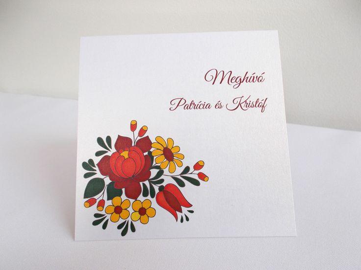 kalocsai mintás esküvői meghívó 12.1
