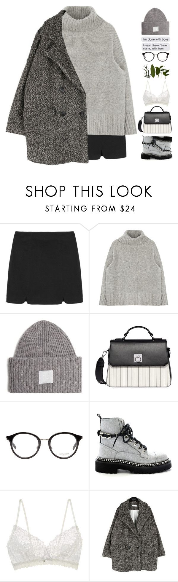 """I'm done with boys"" by heypandagirl ❤ liked on Polyvore featuring Acne Studios, Fiorelli, Yves Saint Laurent and Hanky Panky"