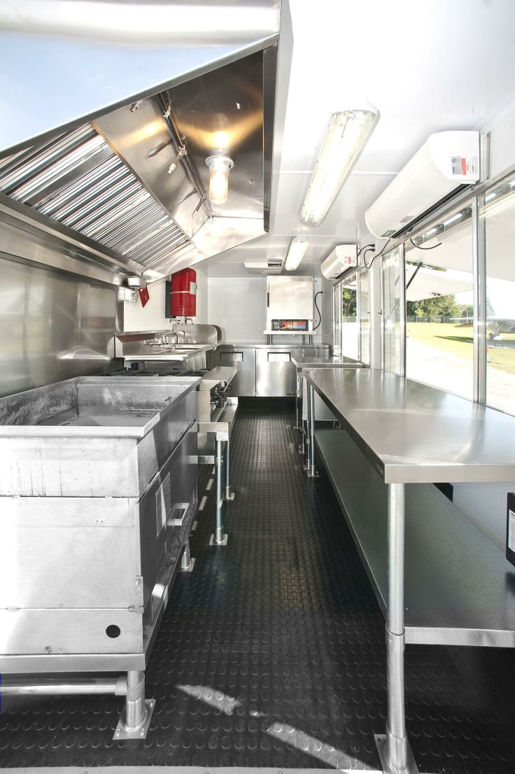 The interior view of the Doughworks food truck from back to front.