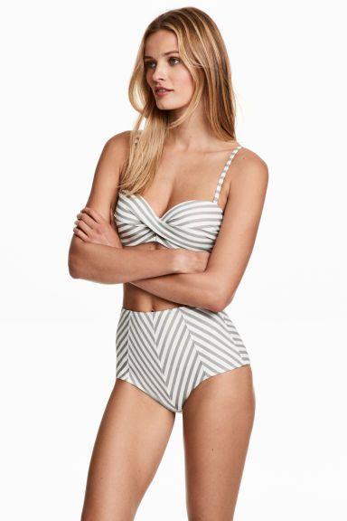 Плавки с завышенной талией - Белый/Серая полоска - Женщины   H&M RU 1
